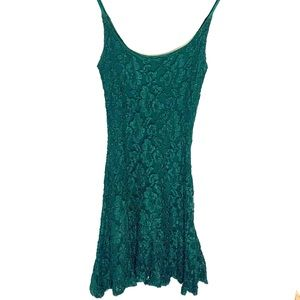 Betsey Johnson Luxe Emerald Green Lace Dress S